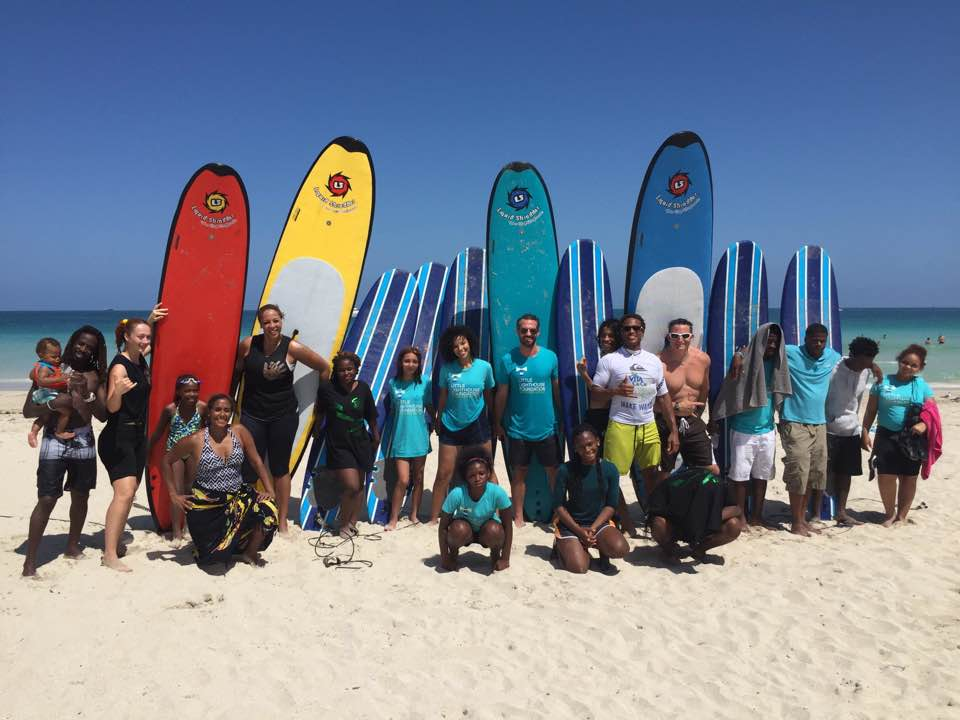 Youth group after a day of surfing