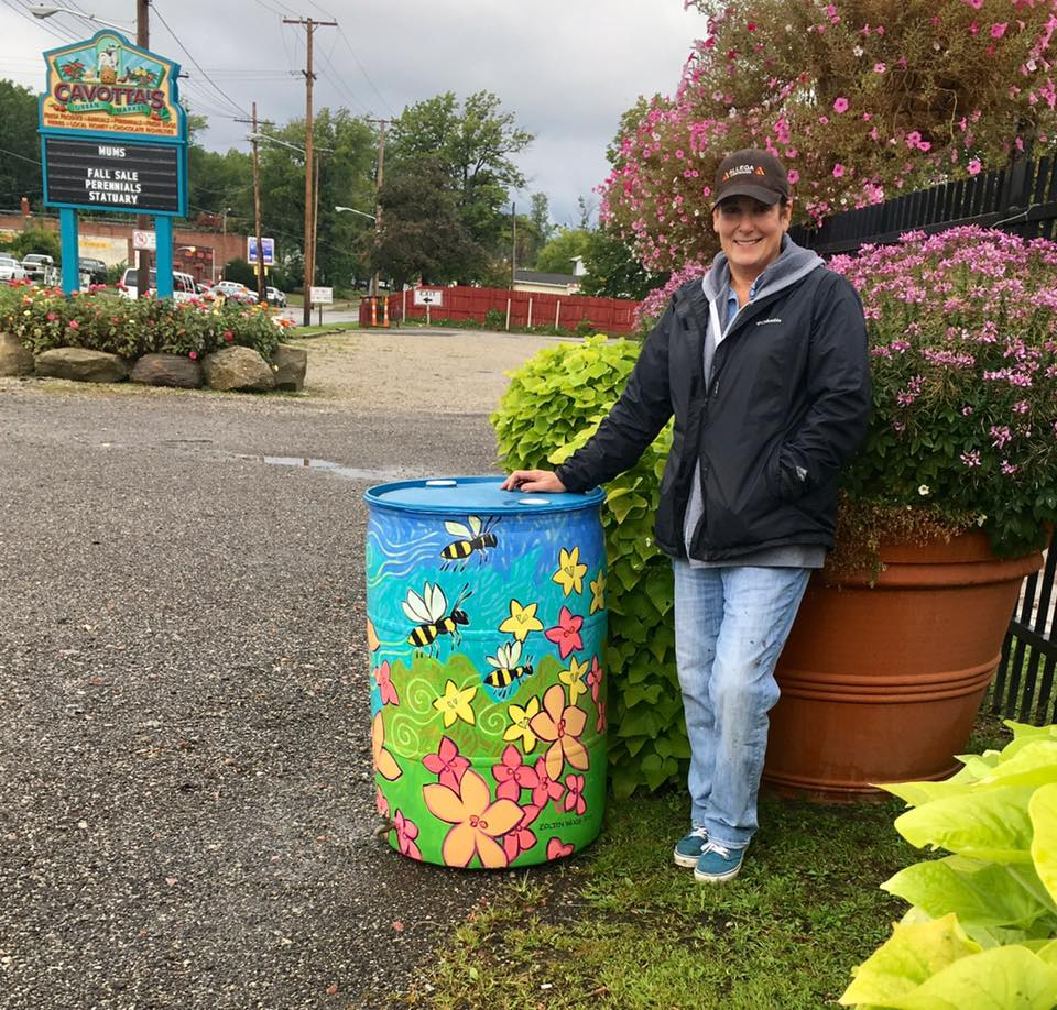 Pollinator Painted Rain Barrel for Angela Cavotta