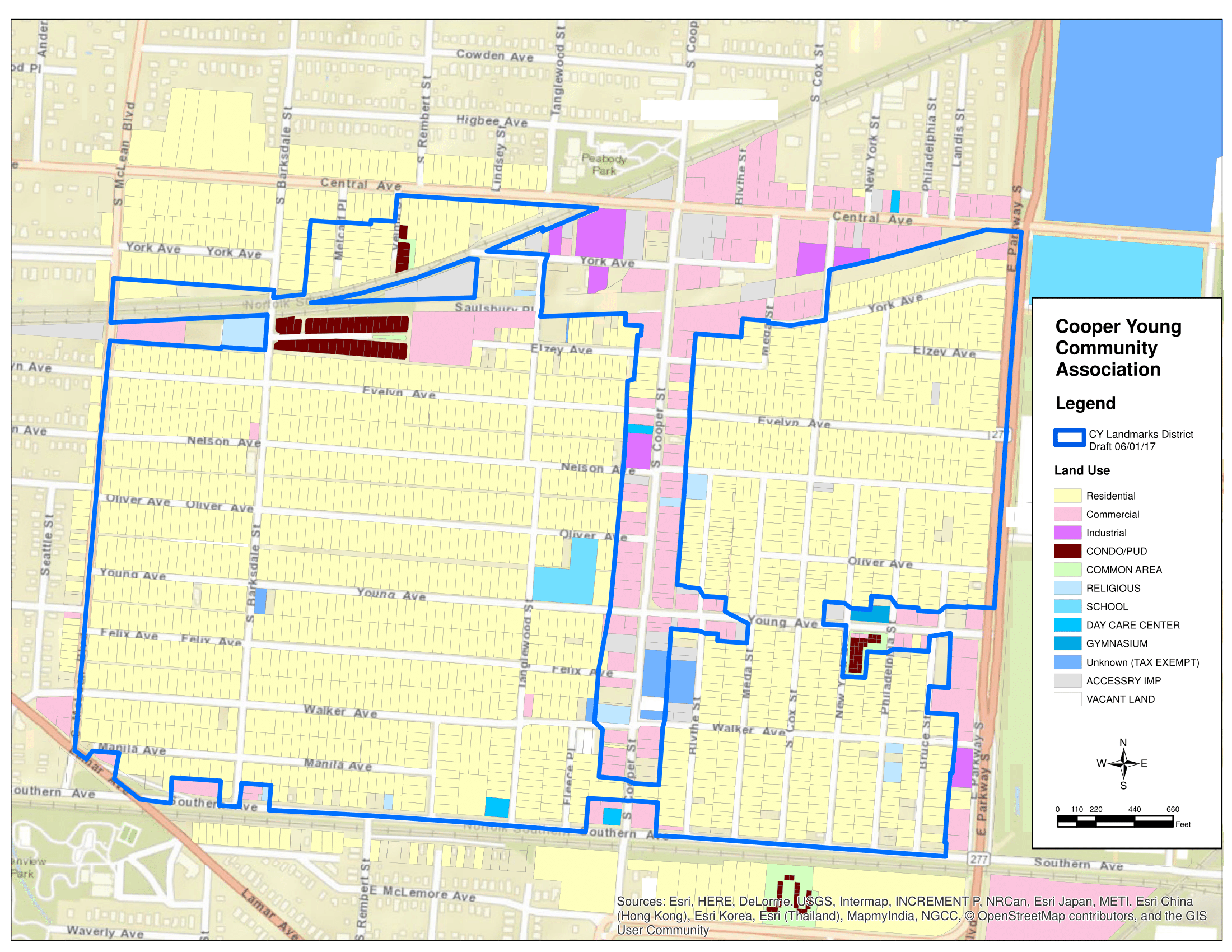 Boundaries for the proposed CY Landmarks District focus on residential properties.