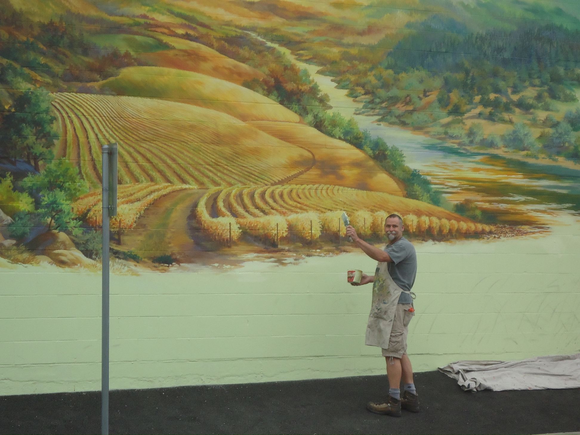 Third section being painted by Bob Eding Summer 2015