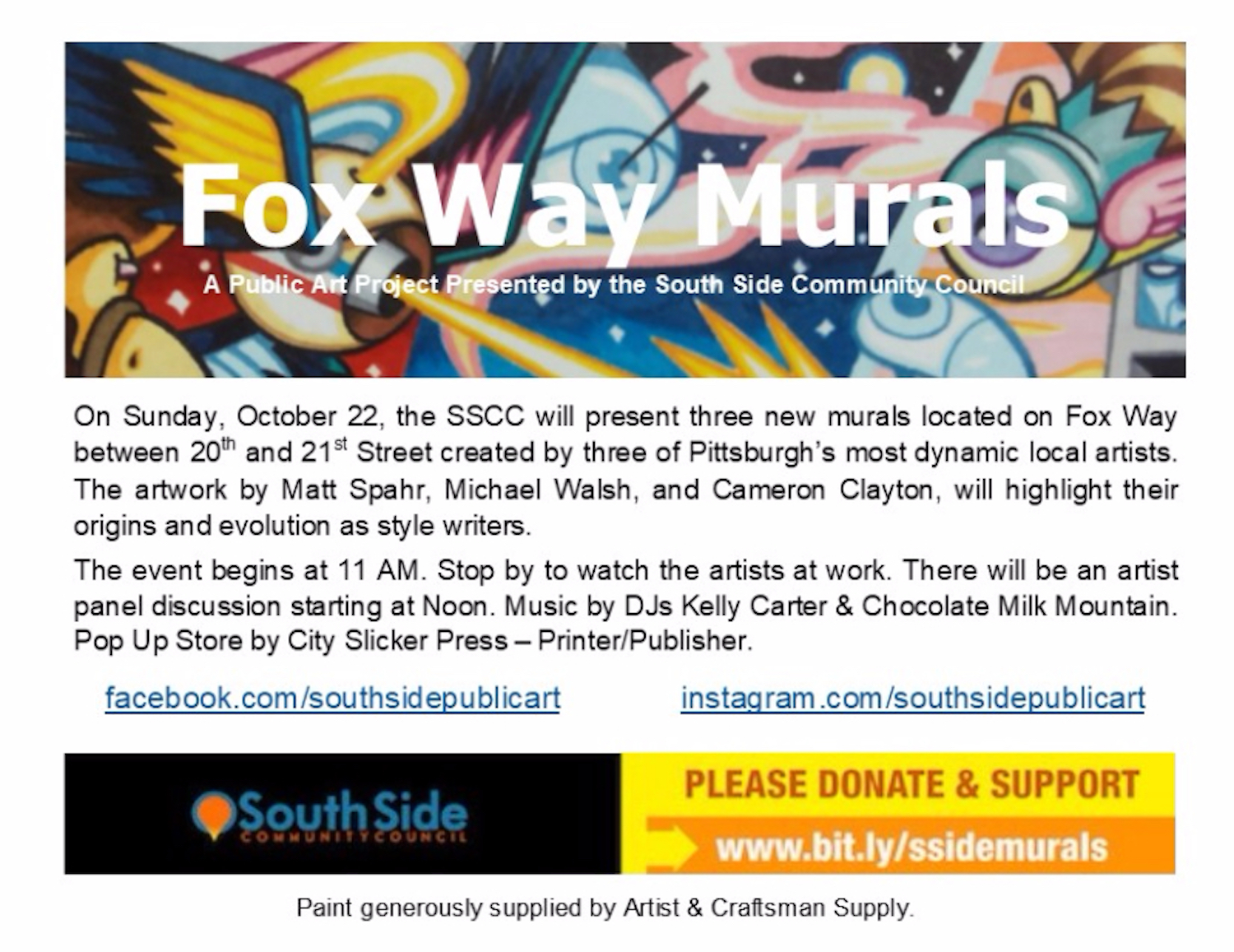 Three new murals. Fox Way between 20-21 Sts.,South Side - October 22,  11AM-4:30 PM - Watch artists at work.