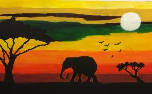 The animals of the Serengeti at sunset.