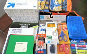 boxes of school supplies