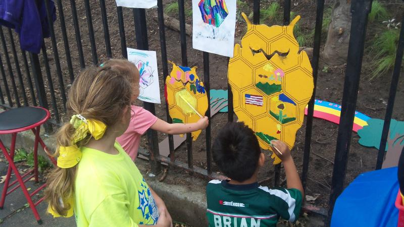 Kids painting the Owls - 2016