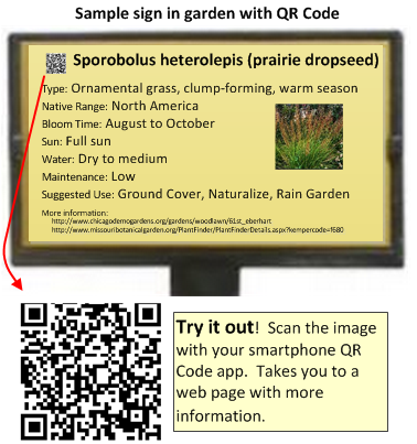 Sample signage for a garden -- with QR Code